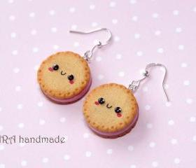 Kawaii cookie earrings with strawberry filling