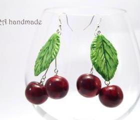 Huge cherry earrings