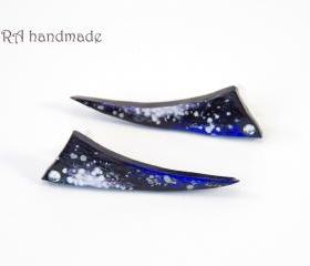Hand painted galaxy ear studs