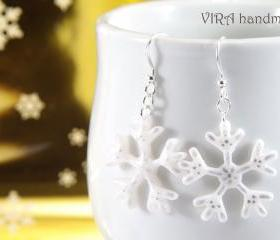 Hand painted snowflake earrings